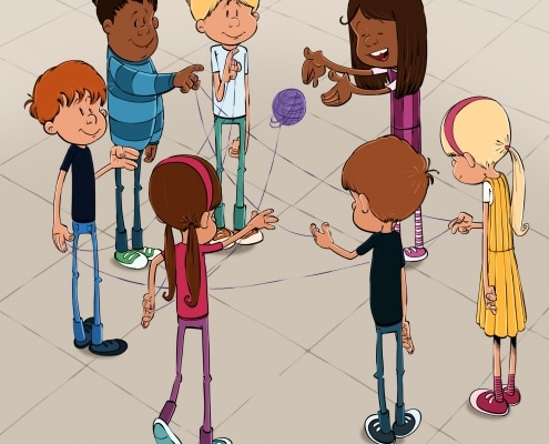 Børn der leger med farvet snor