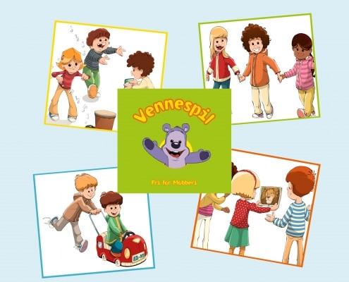 5 brikker i et vendespil med billeder af Bamseven og 4 forskellige børn.