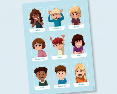 9 ansigter med 9 forskellige følelser
