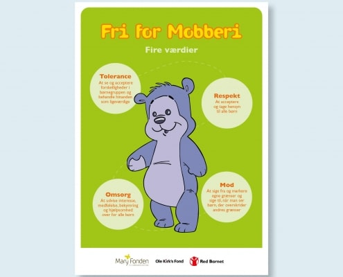 Bamseven illustreret sammen med beskrivelsen af Fri for Mobberis fire værdier: Tolerance, respekt, omsorg og mod.
