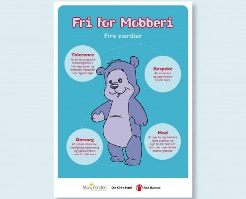 Bamseven illustreret sammen med beskrivelsen af Fri for Mobberis fire værdier: Tolerance, respekt, omsorg og mod
