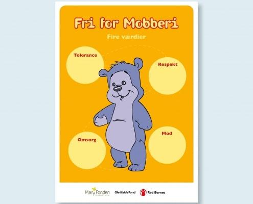 Bamseven illustreret sammen med Fri for Mobberis fire værdier: Tolerance, respekt, omsorg og mod.