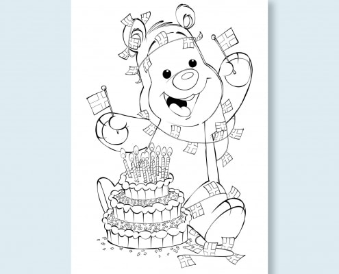 Mal-selv tegning af Bamseven der har fødselsdag