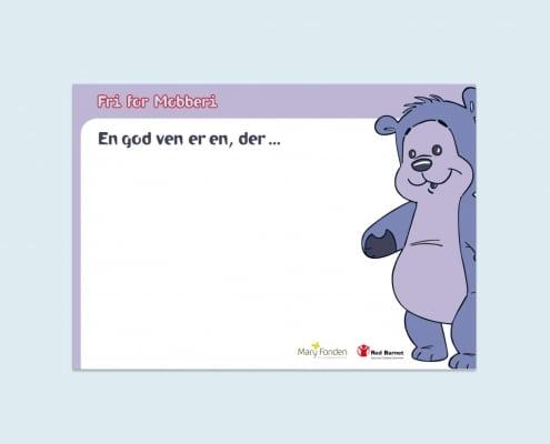 Postkort med Bamseven fra Fri for Mobberi