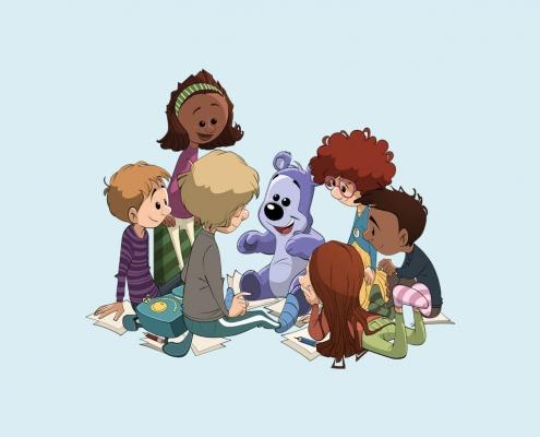 Bamseven sidder med børn i en rundkreds.
