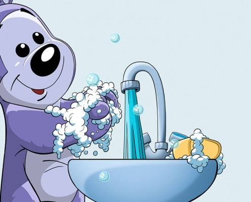 Bamseven vasker hænder