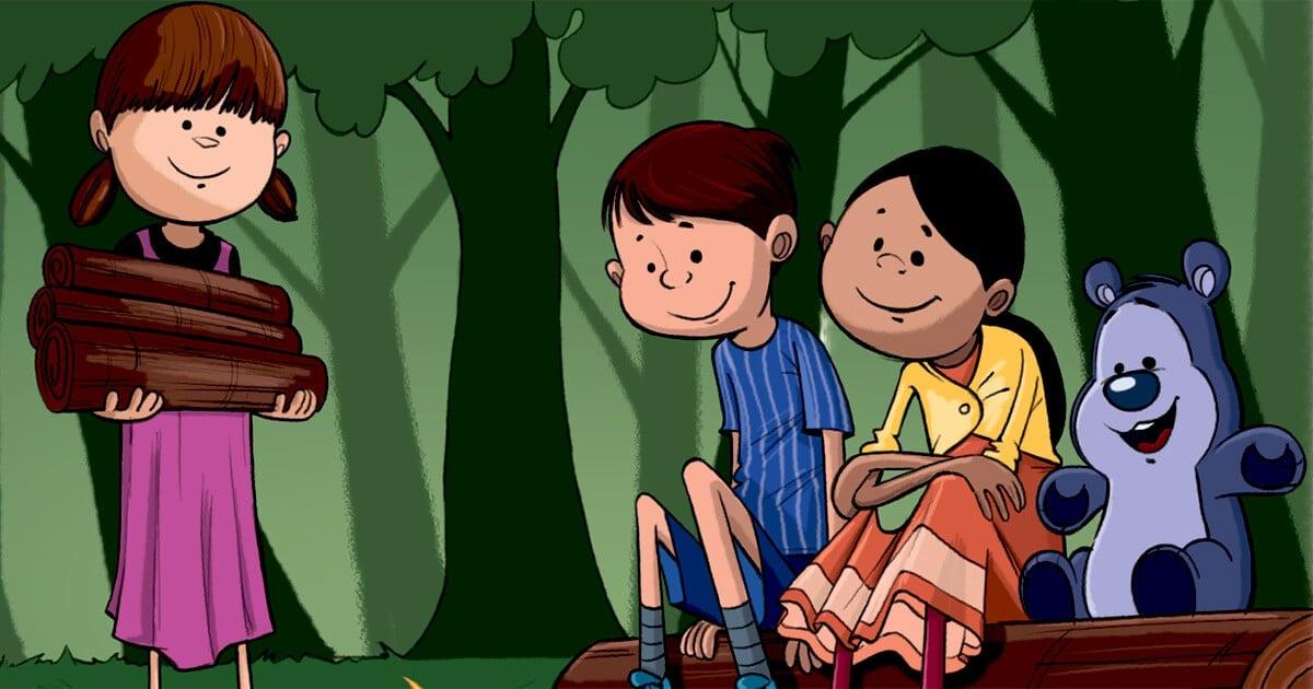 Børn og Bamseven i skoven