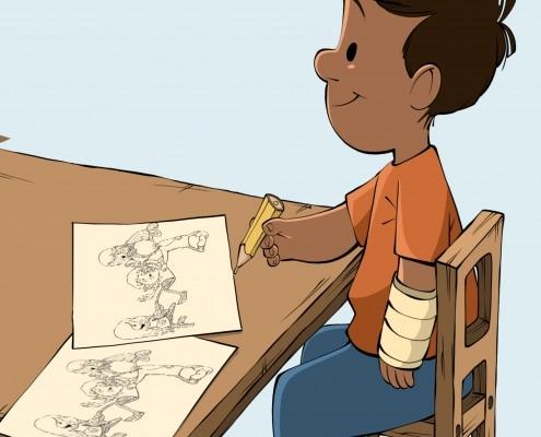 Dreng maler samtaletavler i Fri for Mobberi