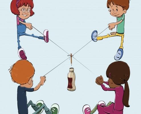Børn samarbejder om at få pind i flaske
