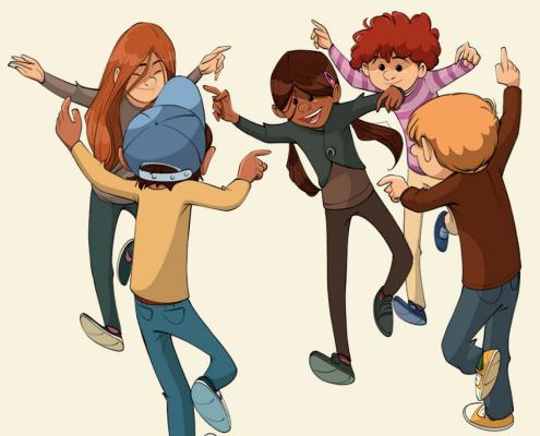 Børn i en danserundkreds. Illustreret af Kim Dalsgaard