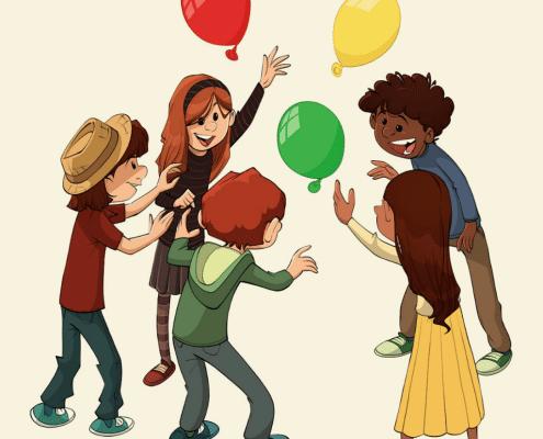 Børn leger ballonleg