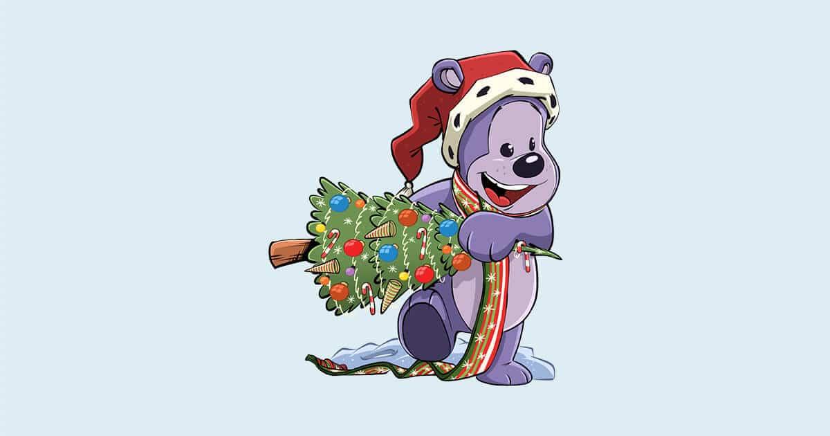 Bamseven med juletræ - Fri for Mobberi