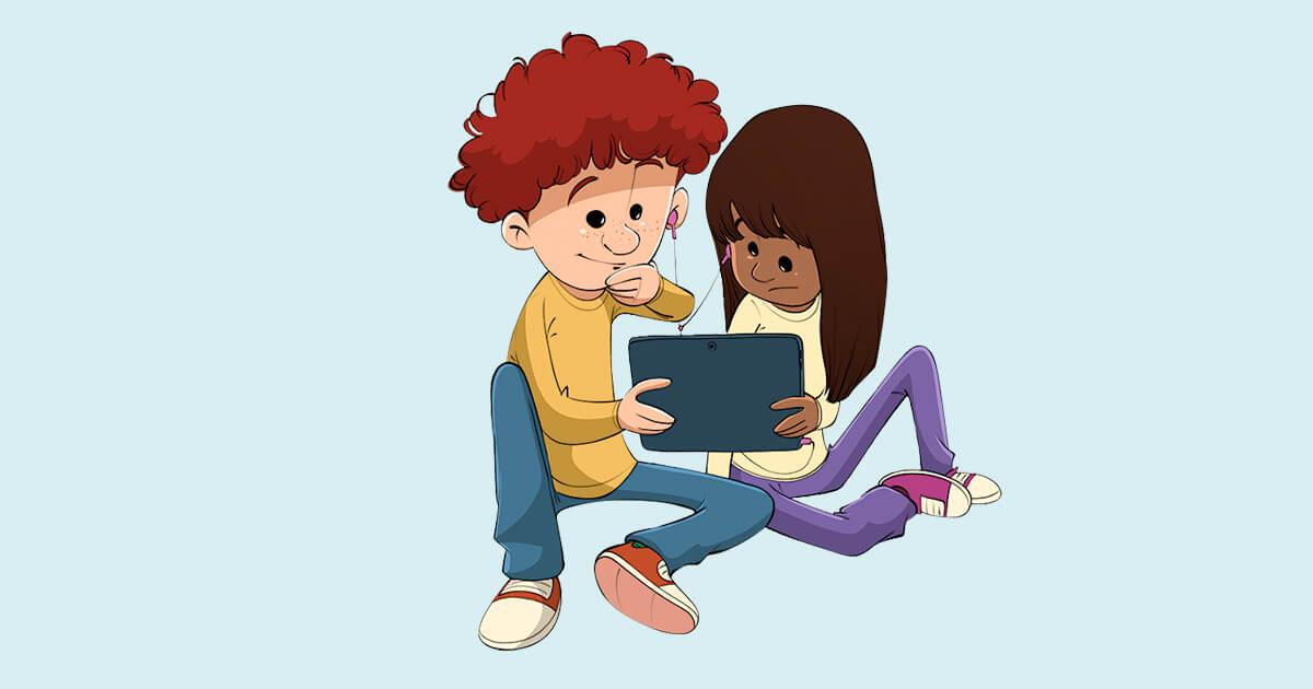 To børn med tablet
