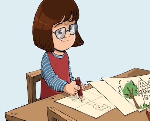 Pige tegner ved et bord